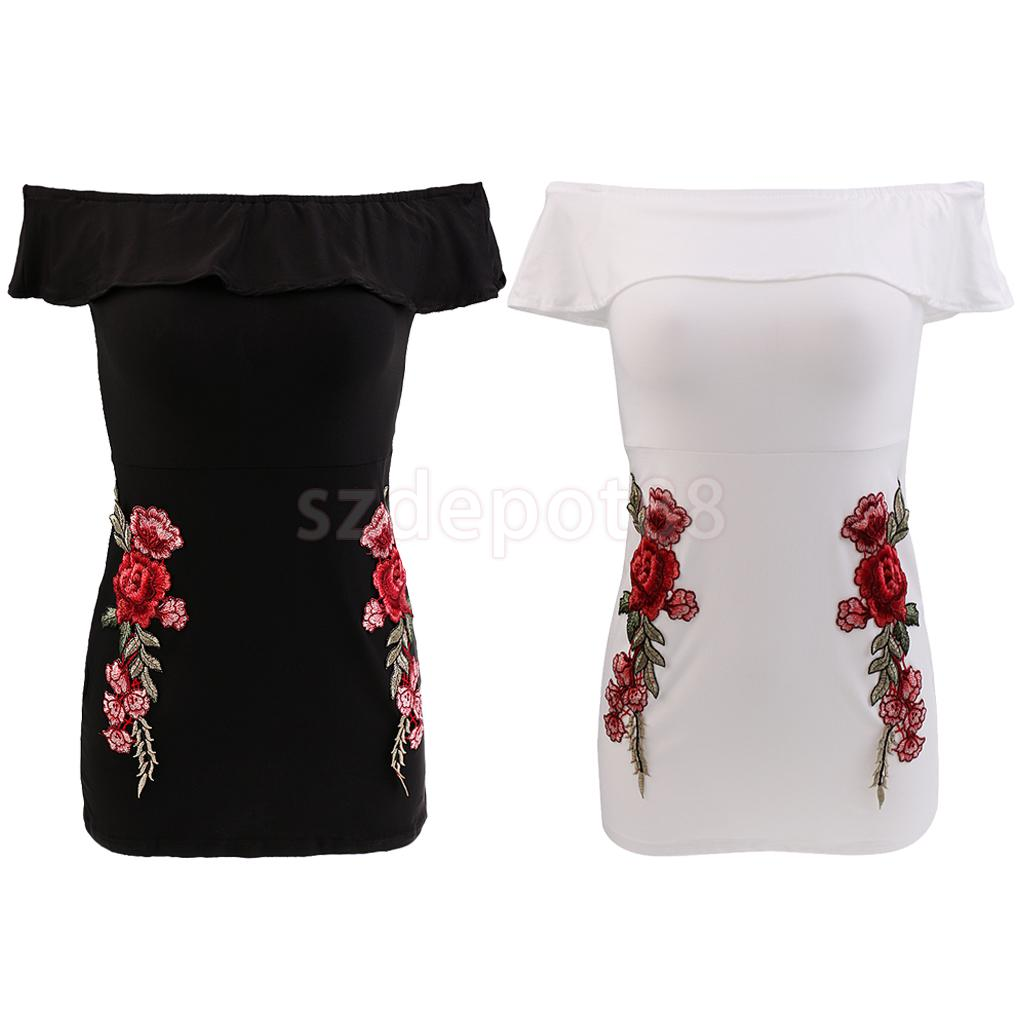 Women Off Shoulder Ruffled Collar Bodycon Package Hip Party Dress