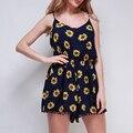 2016 summer Sexy Vintage Women Straps print Sunflower Print Jumpsuits Pants Playsuit Shorts Rompers womens jumpsuit