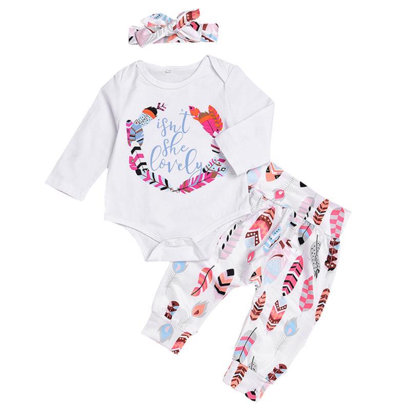 3pcs Comfortable Spring Summer Baby Infants Clothes Suit Feathers Print Romper Pants Headband Newborn Clothing Set