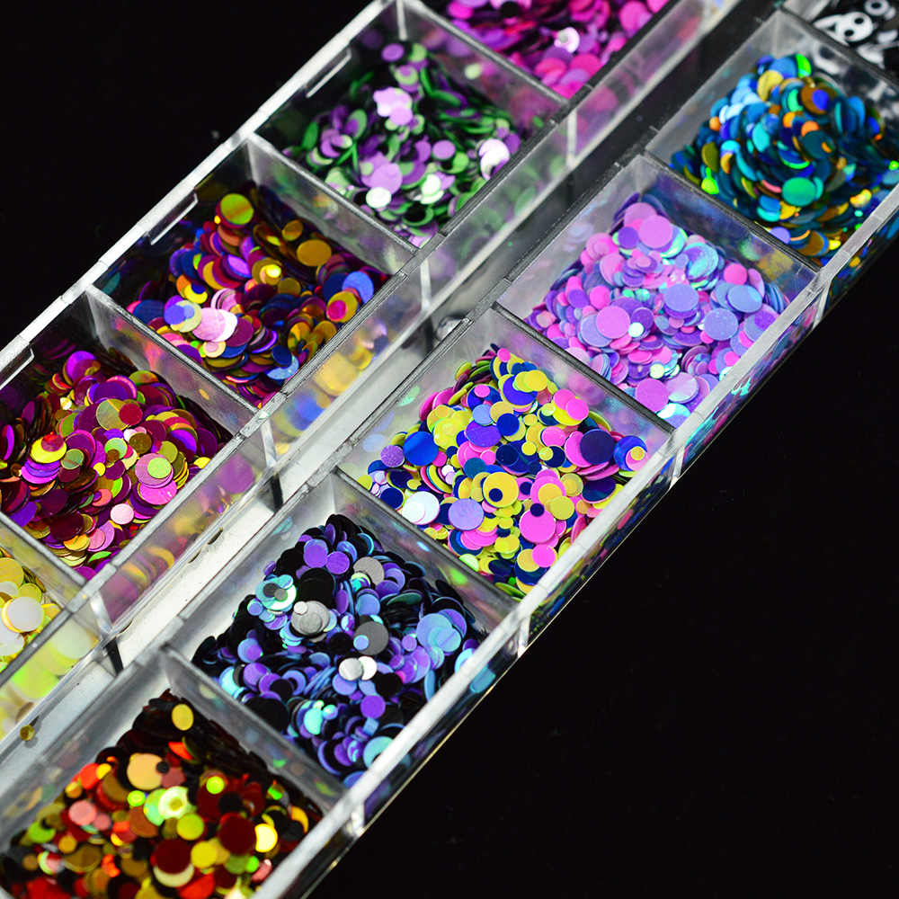 1 セット混合色 3D 超薄型スパンコールネイルグリッターフレーク 1/2/3 ミリメートルキラキラ diy のヒント眩しい paillette のネイルアート装飾 trp