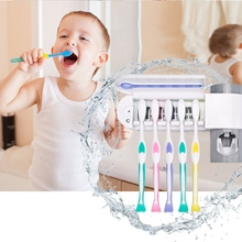 2 in 1 Ultraviolet Toothbrush Sterilizer Toothbrush Dispenser Holder Bathroom Automatic Toothpaste Squeezers for Home Bathroom W