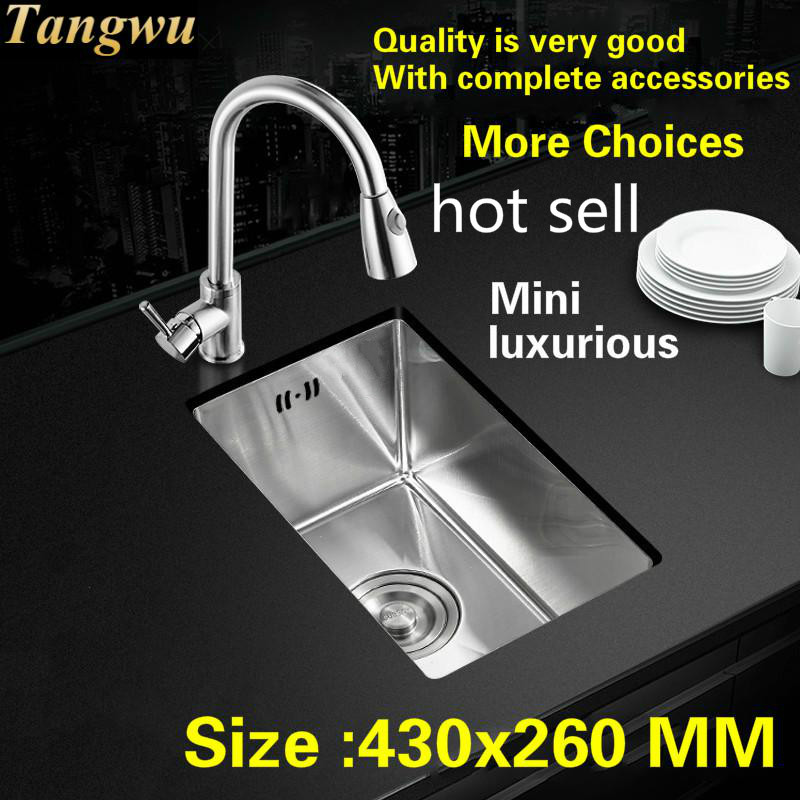 Free Shipping Apartment Luxury  Balcony Small Kitchen Manual Sink Single Trough 304 Stainless Steel Standard Hot Sell 43x26 Cm