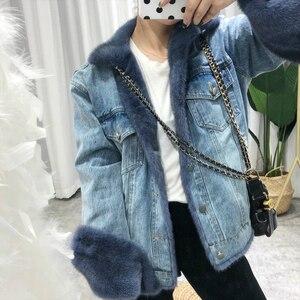 Image 4 - OFTBUY Brand Real Fur Coat Winter Jacket Women Denim Parka Natural Mink Fur Duck Down Coat Thick Warm Streetwear Casual Luxury