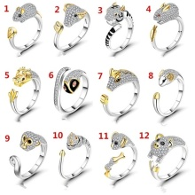 цены Twelve Chinese Zodiac Signs Silver Plated Opening Ring Women Creative Crystal Finger Ring Jewelry