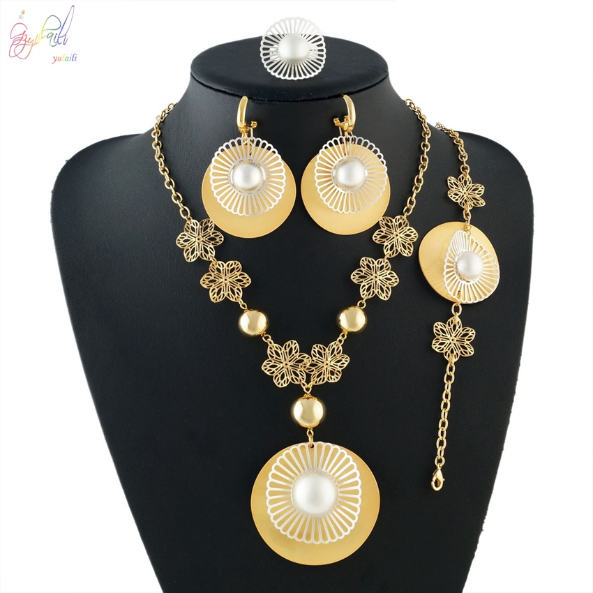 YULAILI Jewelry Sets Wedding Pearl Fashion Bridal African Pure Gold Color Necklace Earrings Bracelet Ring Women Party Sets viennois new blue crystal fashion rhinestone pendant earrings ring bracelet and long necklace sets for women jewelry sets