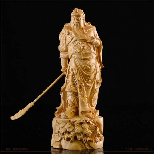 12 CM Long Carved Boxwood Carving Figurine - Guan Gong Warrior12 CM Long Carved Boxwood Carving Figurine - Guan Gong Warrior