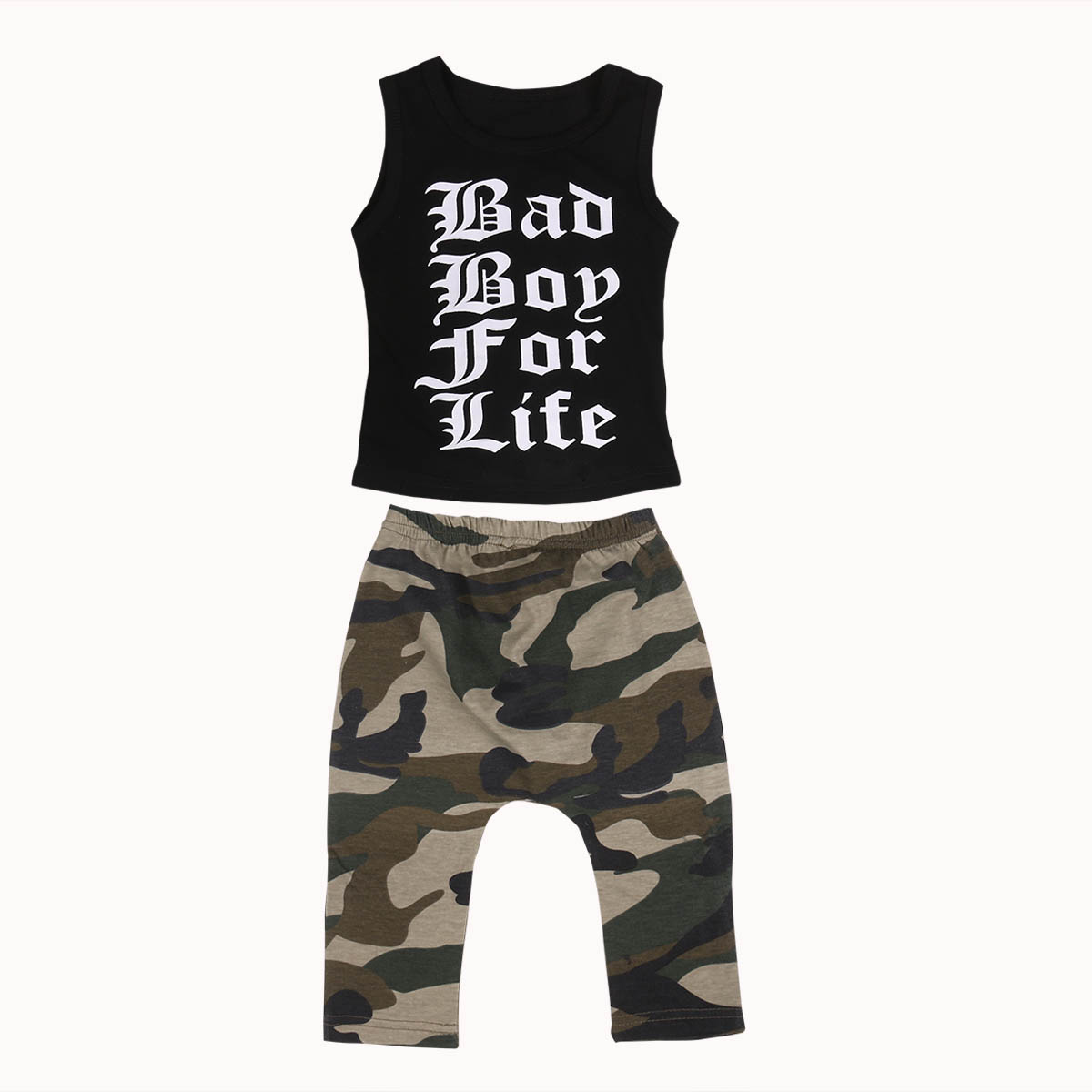2017 Summer Kids Boy Clothing Set Sleeveless Letter Print Vest T-shirt Tops+Camouflage Pant 2PCS Children Clothes 0-4Y 2017 cute kids girl clothing set off shoulder lace white t shirt tops denim pant jeans 2pcs children clothes 2 7y
