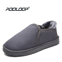 POOLOOP Casual Women Indoor Slippers Winter Warm Snow Shoes Women Slip On Bedroom Slippers Comfy Leather Moccasins For Unisex