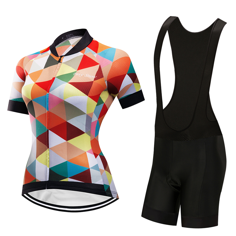 2018 Summer Womens Cycling Jersey Bib Shorts Sets Wear Racing Bike Clothing Kits Feminino Bicycle Clothes Suits Riding Uniform