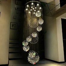 Free Shipping union LED Luxury crystal chandeliers lights villa hall foyer lobby restaurant stair crystal drop lights GU10 lamp duplex building stair crystal chandelier spiral villa foyer led chandeliers light lighting free shipping
