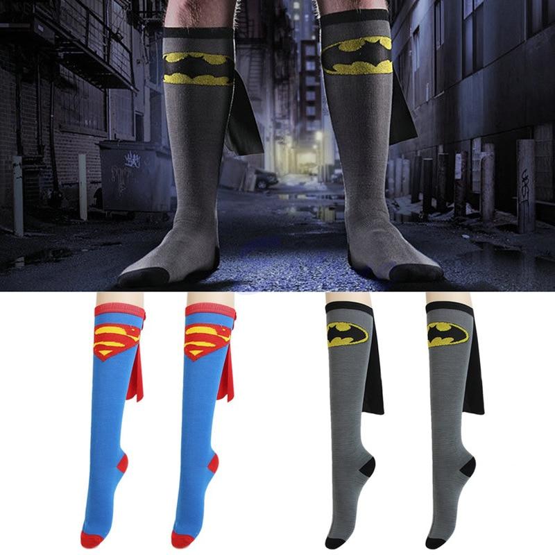 Superman Football Socks Cartoon Superman\Batman Cape Socks Basketball Socks Long Tube Sports Socks For Men And Women Apply