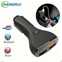 Universal 5V 2 4A Car Charger Hangrui FM Aux Music Player Handsfree Dual USB Charger For
