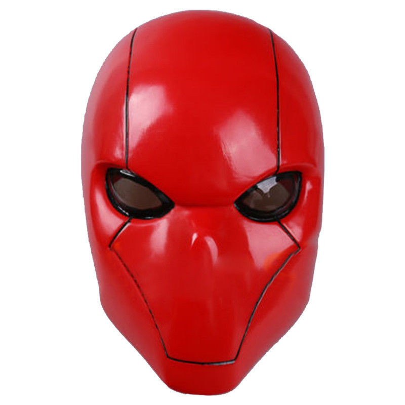 Red Hood Batman Mask Adult Wayne Cosplay Full Head Helmet PVC Mask Breathable Man Adult Halloween