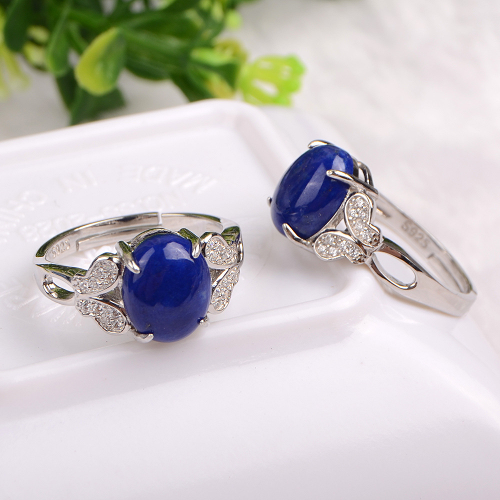 Natural Afghan Lapis Lazuli Stone Ring Women Solid 925 Sterling Silver Band Resizable Natural Blue Stone Elegant Female Jewelry