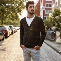 SIMWOOD 2018 Bahar Kış Erkek Kazak % 100% Pamuk Örme Hırka Moda Marka Giyim Artı Boyutu Triko Sıcak Satış MK017002