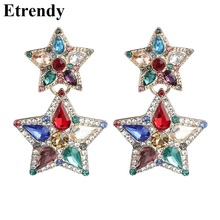 Double Layers Star Drop Earrings With Stones 2019 New Classic Fashion pendientes mujer Jewlery