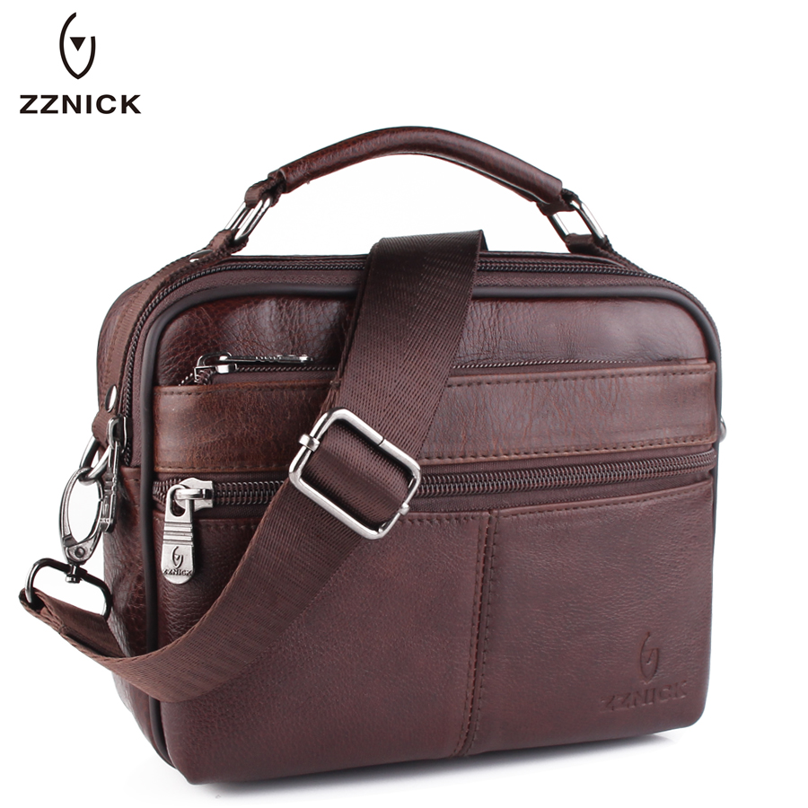ZZNICK 2017 New Fashion Men Bag Genuine Cowhide Leather Shoulder Bag Men Small Messenger Bags Men