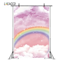 Laeacco Cartoon Rainbow Clouds Stars Baby Children Photography Backgrounds Customized Photographic Backdrops For Photo Studio