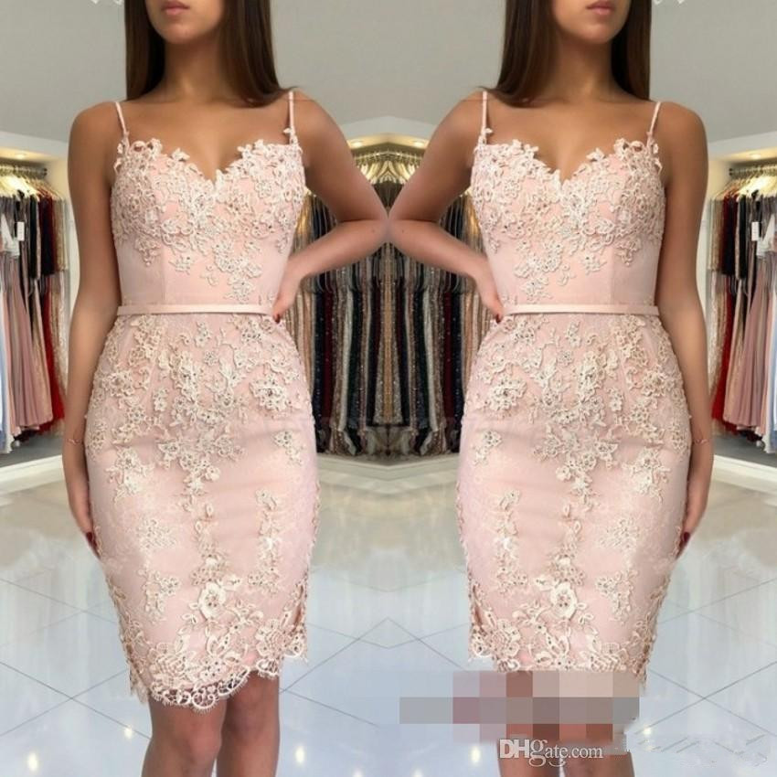 Pink 2019 Cocktail Dresses Spaghetti Straps Short Mini Lace Beaded Elegant Party Homecoming Dresses