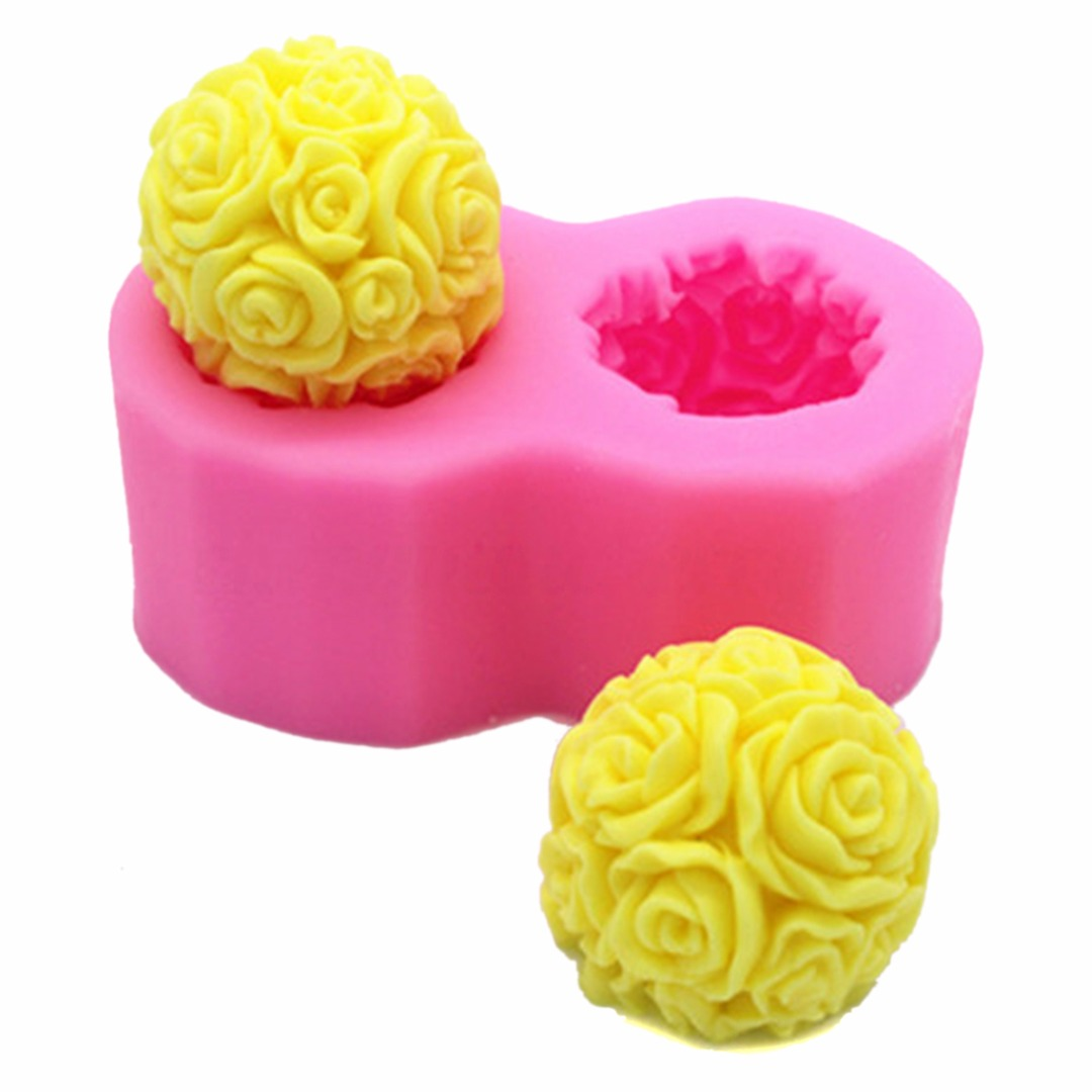 3D Rose Flower Ball Shaped Silicone Mould Soap Mould Decorative Candle Cake Baking Molds DIY Kitchen Handmade Tool3D Rose Flower Ball Shaped Silicone Mould Soap Mould Decorative Candle Cake Baking Molds DIY Kitchen Handmade Tool
