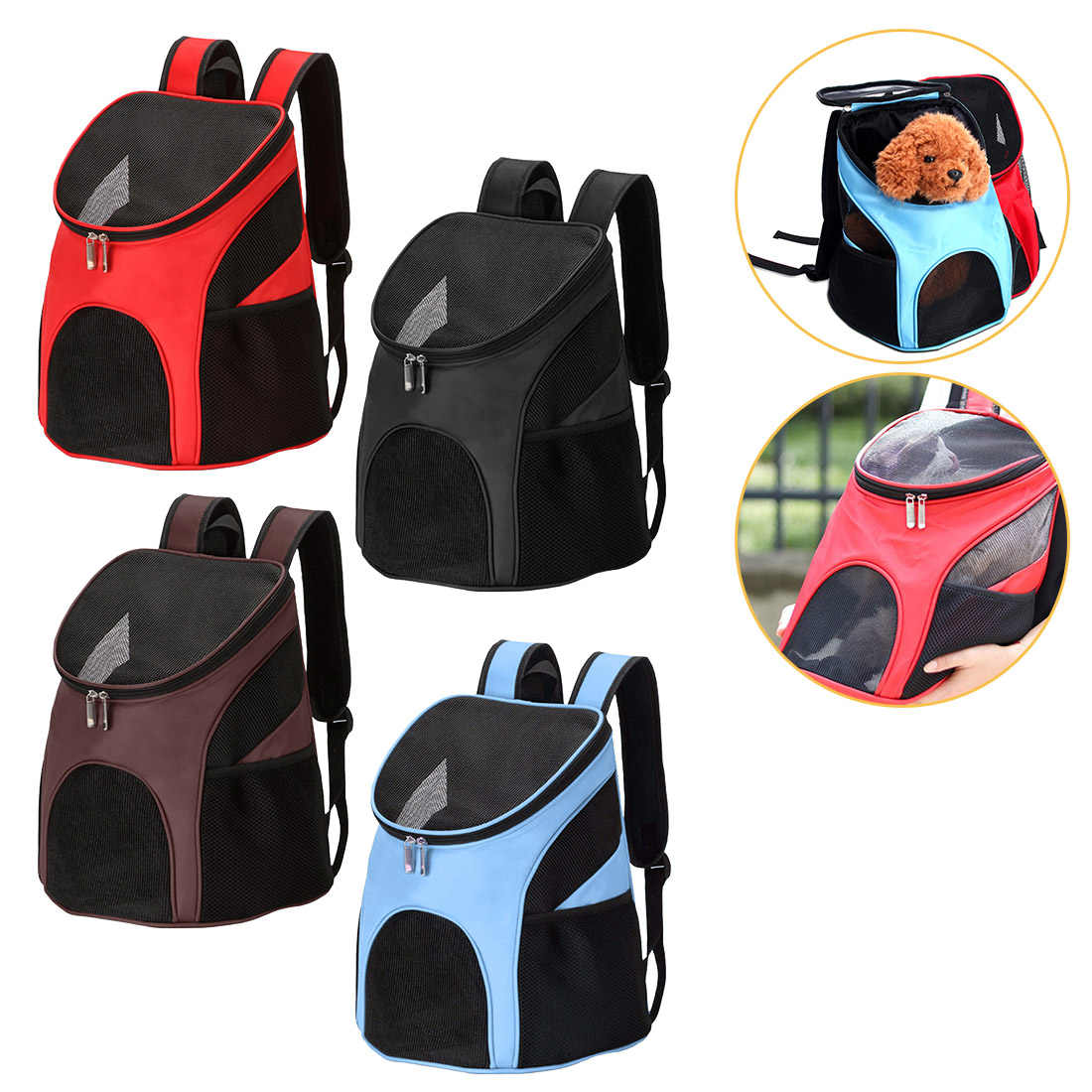 2019 New Pet Dog Carrier Mesh Backpack Outdoor Travel Products Breathable Shoulder Handle Bags for Small Dog Cat Chihuahua