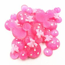 10Pcs Pink Cameo Cabochon Decoration Mouse With Bowknot Resin Flat Back Fashion Jewelry DIY Findings 31mm