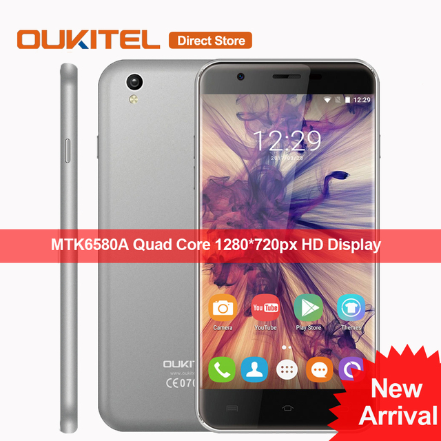 """Original OUKITEL U7 Max 3G Mobile Phone Android 6.0 MTK6580A Quad Core Cell Phone 1GB RAM 8GB ROM 8MP 5.5"""" Inch HD Smartphone"""