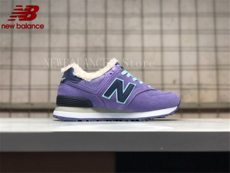 New Balance Women's NB574 Velvet Shoes Keep Warm Winter Shoes New Arrival Fur Sneakers Lining Lightweight Sport Shoes 36-39 2017 new lightweight breathable suede mens casual shoes adult keep warm with fur