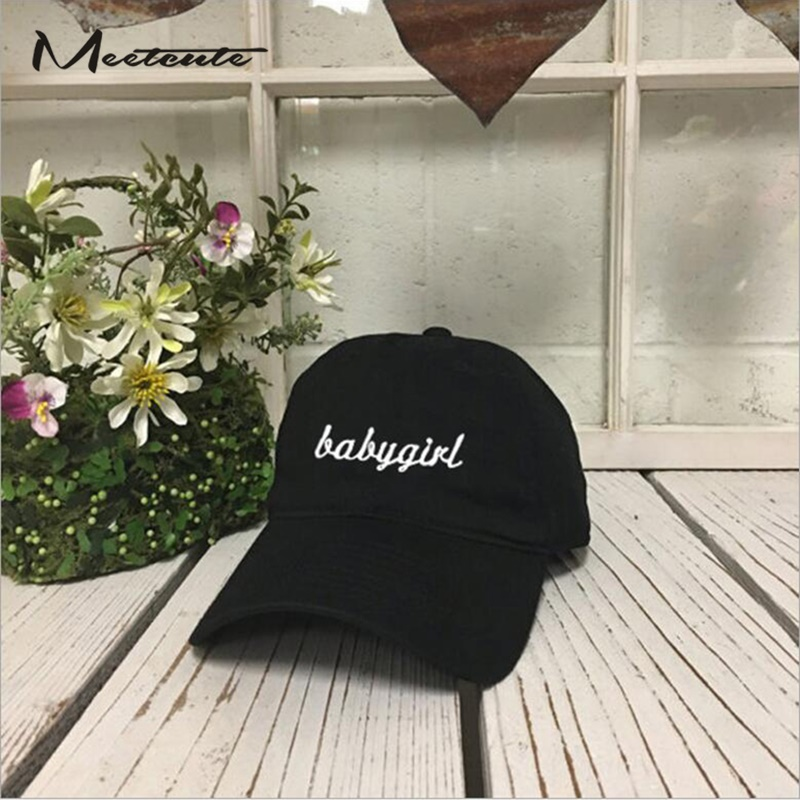 Meetcute New Adjustalbe Cotton Baseball Cap BABYGIRL Embroidery Casual  Fashion Letter Hats For Men   Women Dad Hat Black-in Baseball Caps from  Men s ... 20d7637feda1
