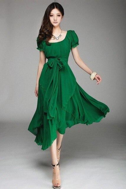 BK 2015 Fiesta Elegante Vestido de Noche Largo de La Gasa Vestidos de las mujeres vestidos lindos Maxi Verde Esmeralda Vestido de Verano Irregular M-XXL