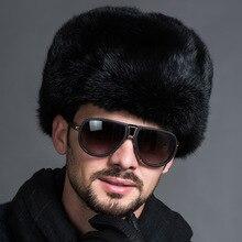 Русские мужские теплые меховые шапки-бомберы, мужские однотонные утолщенные шапки-ушанки Leifeng, одноцветные зимние шапки, теплые зимние осенние модные шапки