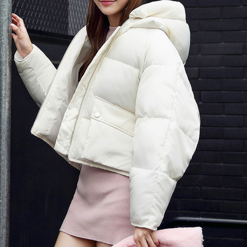 CLB01 Women Autumn Winter Short Jacket Coat Warm Thicken Padded   Parkas   Hooded Female Oversize Off Shoulder
