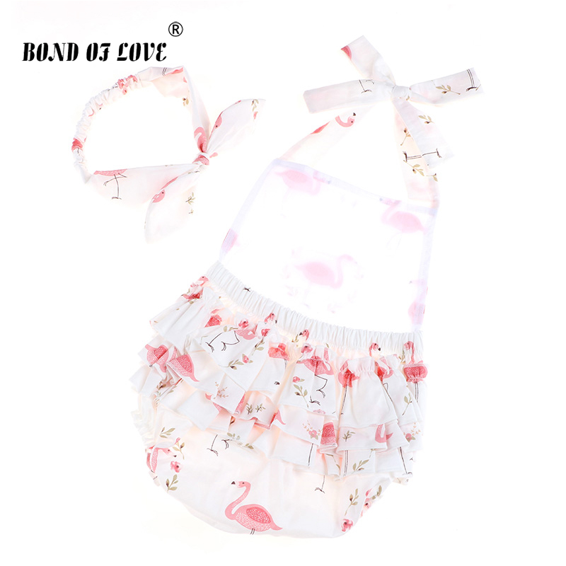 Newborn Baby Rompers Girls Romper+Headband Infant Cotton Jumpsuit Sleeveless Girl Clothes 2 Color