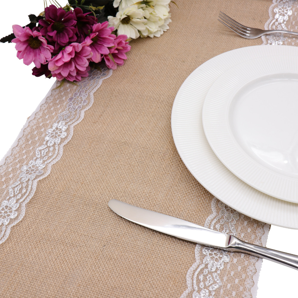Burlap Table Runner White Lace Tabletop Decor For Rustic