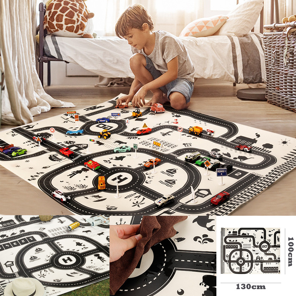 CHAMSGEND Kids Play Mat City Road Buildings Parking Map Game Scene Map Educational Toys
