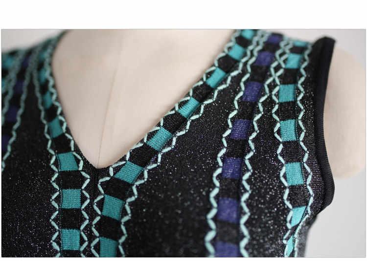 Женское трикотажное платье-свитер SMTHMA, женское жаккардовое длинное платье с V-образным вырезом, лето 2019