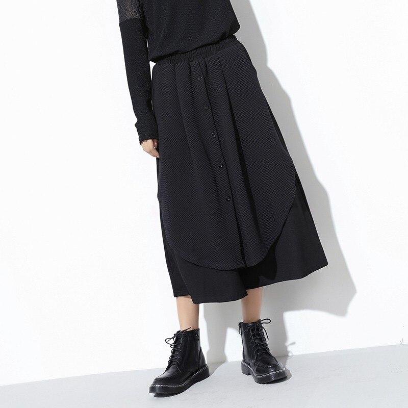 Hip Streetwear Piezas 2 De Ancho Las Hop Black Estilo Empalmado 2019 Falda Damas Pantalones Negro La Mujeres Nuevo Coreano Pierna xw6qBq1ZA