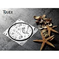 TULEX 304 Stainless Steel Round Floor Drain Bathroom Invisible Shower Drain Floor Waste 150x150MM Anti Odor Slim Design