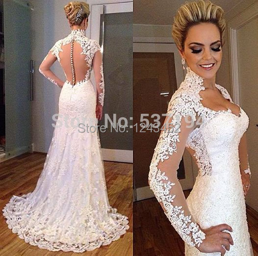 2017 Vintage Lace Lique Backless Sweetheart Beads Bodycon Mermaid Wedding Dress Bridal Gown With Long Sleeve