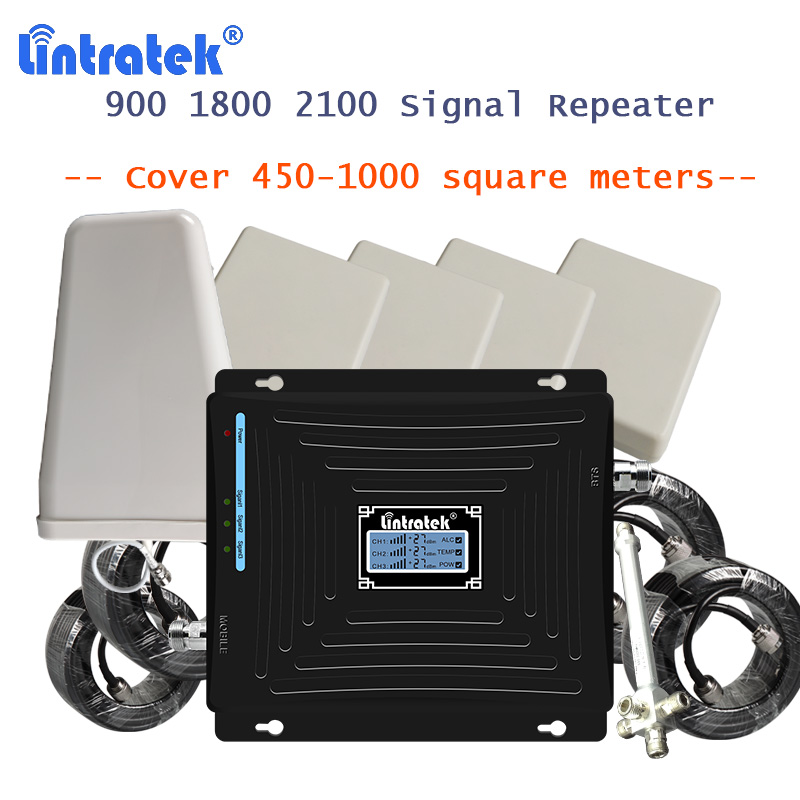 Lintratek señal celular amplificadores 2g 3g 4g LTE amplificador de señal 900 1800, 2100 con 4 antena amplificador 4g repetidor de señal de amplificador señal móvil repetidor señal 4g amplificador gsm 3g 4g lte 1800mhz