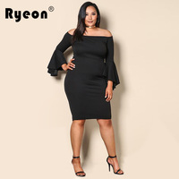 Ryeon 2017 Vestidos De Festa Sexy Vintage Plus Size Tunic Dress Women Black Off The Shoulder