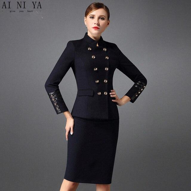 2b37d801fd9f Gonna donne Suit Autunno Inverno 2 Pezzo Set Delle Donne Eleganti affari Vestiti  di Pannello Esterno