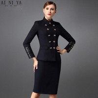 Women Skirt Suit Autumn Winter 2 Piece Set Women Elegant Business Skirt Suits Long Sleeve Suit Satin Collar Office Uniform Style