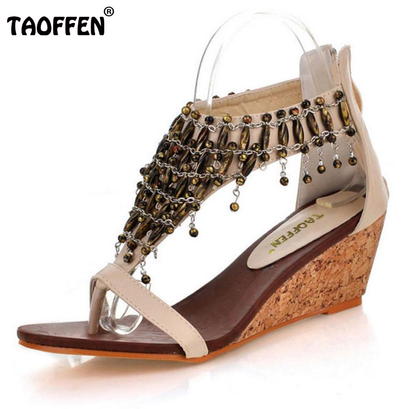 cedef699e439 TAOFFEN Size 30-43 Real High-Heeled Shoes Small Yards Bohemia National  Trend Beaded