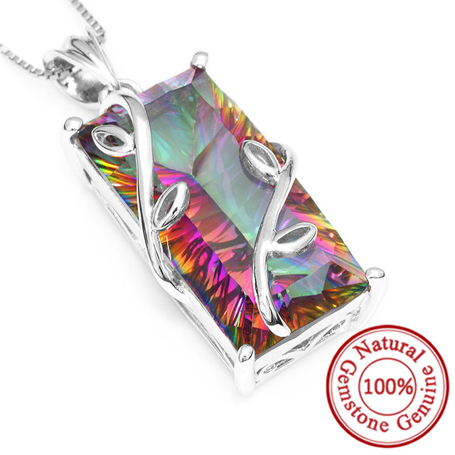 Huge 16ct Genuine Natural Fire Rainbow Mystic Topaz Pendant Charm Solid 925 Sterling Silver Vintage Fashion Women Jewelry 2016