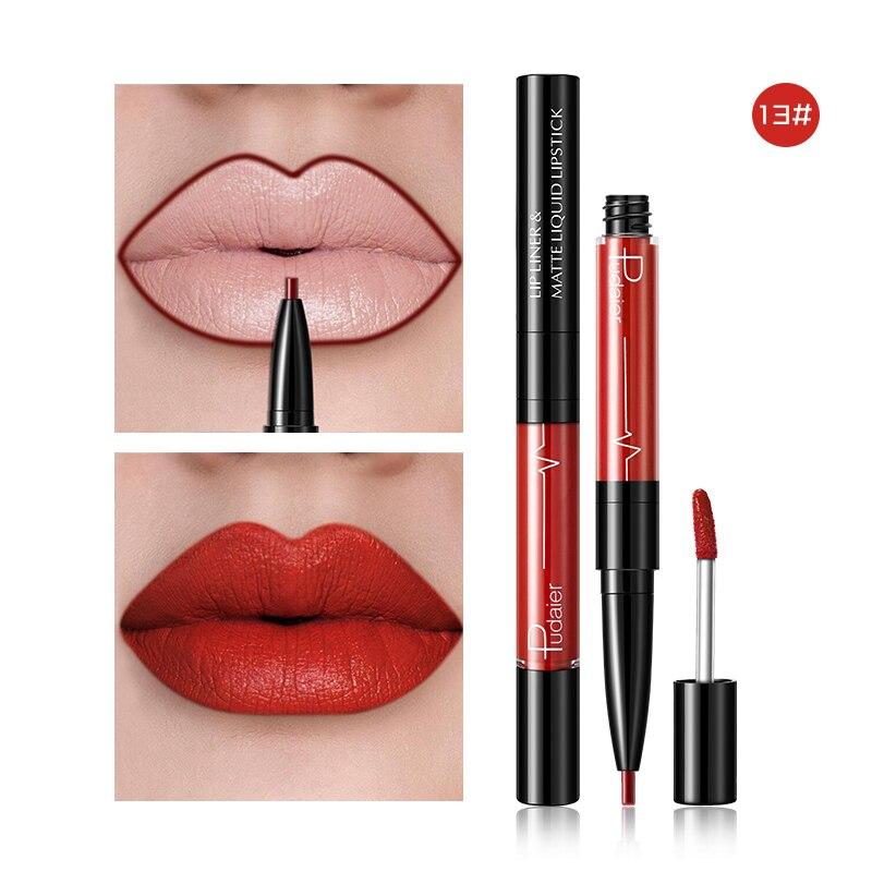 2 In1 Matte Lip Gloss Lip Liner Maquiagem Profissional Completa Agate Red Lip Tint Plumper Tattoo Makeup Liquid Lipstick 2