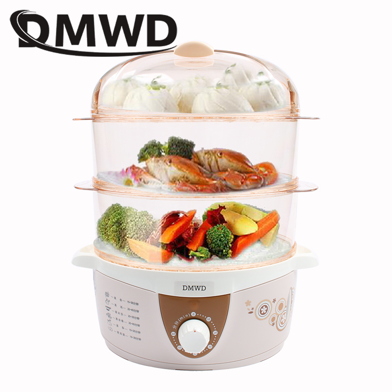 DMWD Electric Heating Food Steamer 3 Layer Multifunction 4L 60 Minutes Timing Timer Snake Steaming Cooker Heater Egg Poacher EU