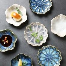 Bandeja de almacenamiento de cerámica con forma de planta creativa, plato de postre, plato de Sushi, bandejas de exhibición para decoración del hogar