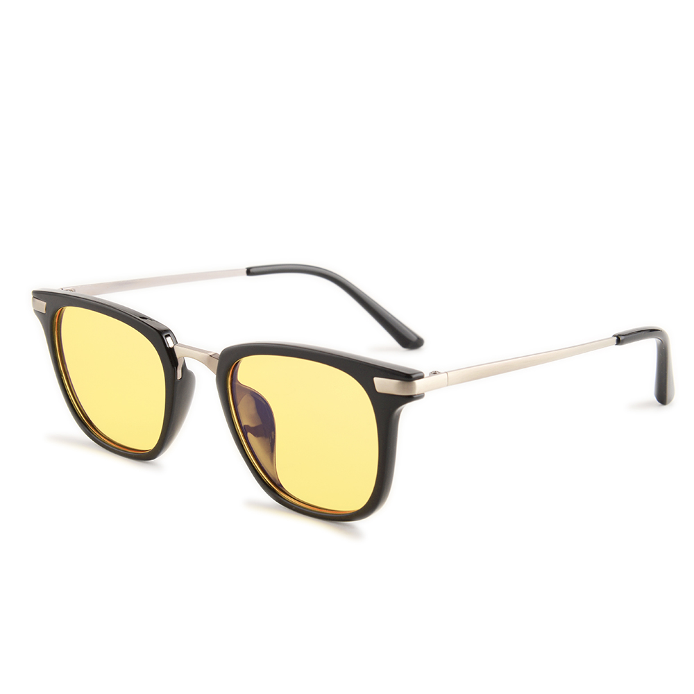 Gudzws Anti Blue Light Glasses Rectangle Plastic Frame With Metal Bridge Temple Rays Blocking Protect Eyes Vision Unisex