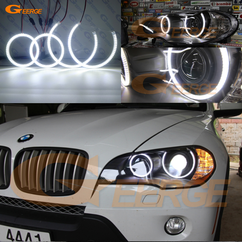 For BMW X5 e70 2007 2008 2009 2010 2011 2012 2013 Xenon headlight Excellent Ultra bright illumination smd led Angel Eyes kit DRL for honda cr v crv 2007 2008 2009 2010 2011 projector headlights excellent ultra bright smd led angel eyes halo ring kit